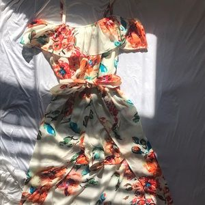 Floral romper with skirt overlay